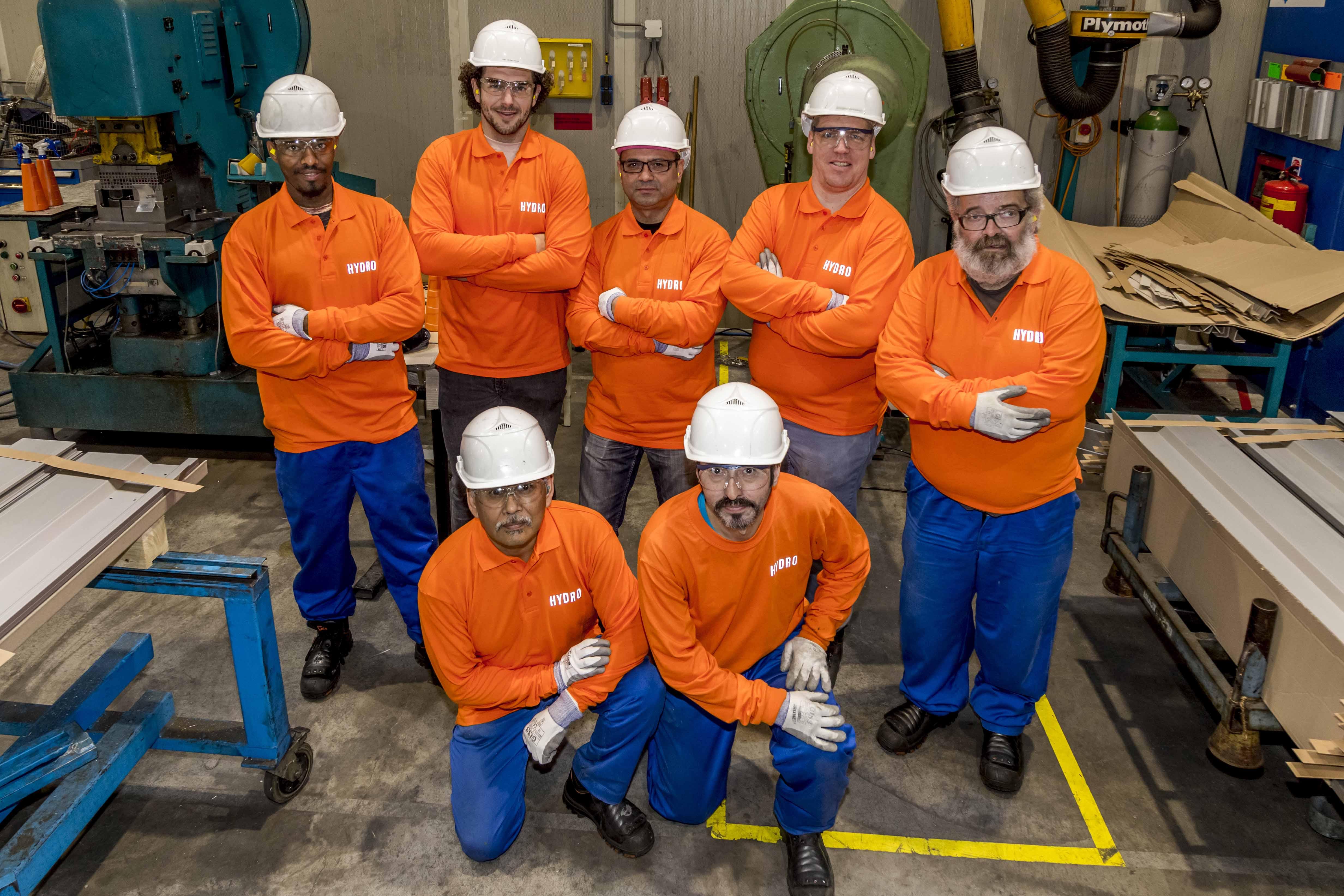 Het team dat bij Hydro in Drunen aan de slag is.